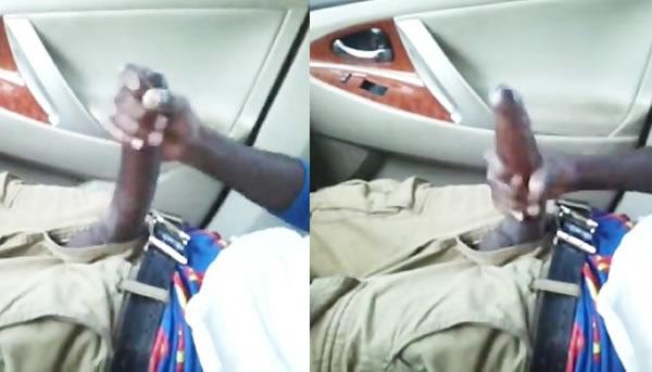 Negão caralhudo tocando punheta no carro